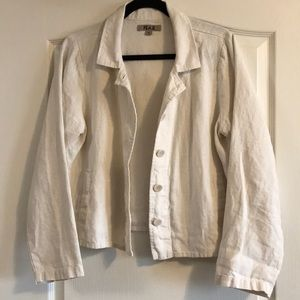 Flax 100% White Linen Light Jacket/Blazer - Sz S